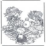 Coloriages faits divers - L'heure du thé