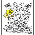 Coloriage thème - Lièvre de Pâques 12