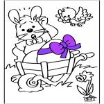 Coloriage thème - Lièvre de Pâques 14