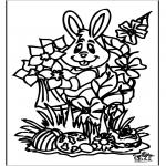 Coloriage thème - Lièvre de Pâques 16