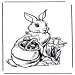 Coloriage thème - Lièvre de Pâques 3
