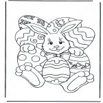 Coloriage thème - Lièvre de Pâques 4