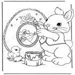 Coloriage thème - Lièvre de Pâques 9
