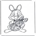 Coloriage thème - Lièvre de Pâques avec oeuf