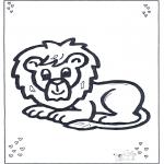 Coloriages d'animaux - Lion couché