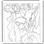 Coloriages d'animaux - Lion sur un rocher
