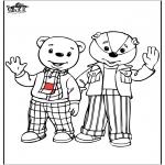 Coloriages pour enfants - L'ours brun et son ami