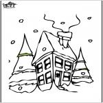 Coloriages hiver - Maison sous la neige 2