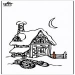 Coloriages hiver - Maison sous la neige 3