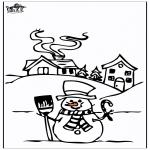 Coloriages hiver - Maison sous la neige 4