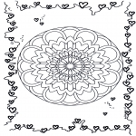 Coloriage thème - Mandala d'amour