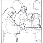 Coloriages Bible - Marie, Marthe et Jésus