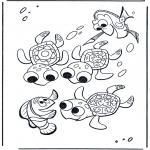 Coloriages pour enfants - Marlin et les tortues