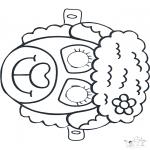 Bricolage coloriages - Masque de Mouton