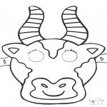 Bricolage coloriages - Masque de vach 1