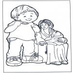 Coloriages pour enfants - Mère avec enfants 2