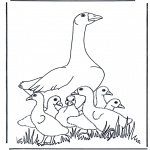 Coloriages d'animaux - Mère oie