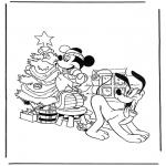 Coloriages Noël - Mickey et Pluto avec le sapin de Noël