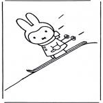Coloriages pour enfants - Miffy fait du ski