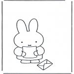Coloriages pour enfants - Miffy reçoit une lettre