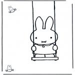 Coloriages pour enfants - Miffy sur la balançoire