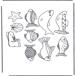 Bricolage coloriages - Mobile poissons