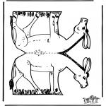 Bricolage coloriages - Modèle de construction - âne