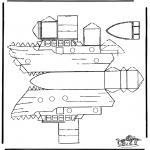Bricolage coloriages - Modèle de construction bateau