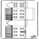 Bricolage coloriages - Modèle de construction - Maison 1