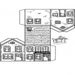 Bricolage coloriages - Modèle de construction maison 3