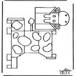 Bricolage coloriages - Modèle de construction - vache 1