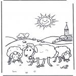 Coloriages d'animaux - Moutons au soleil