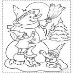 Coloriages hiver - Nain et bonhomme de neige