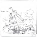 Coloriages faits divers - Navire en bataille
