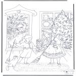 Coloriages Noël - Nettoyage de Noël