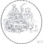 Coloriages Noël - Noël Carte à broder 1