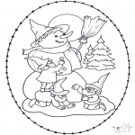 Coloriages Noël - Noël Carte à broder 11