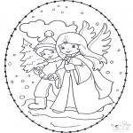 Coloriages Noël - Noël Carte à broder 12