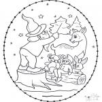 Coloriages Noël - Noël Carte à broder 13