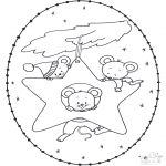 Coloriages Noël - Noël Carte à broder 15