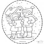 Coloriages Noël - Noël Carte à broder 16