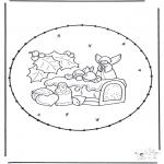Coloriages Noël - Noël Carte à broder 18