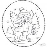 Coloriages Noël - Noël Carte à broder 23
