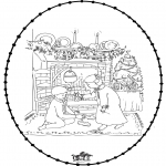 Coloriages Noël - Noël Carte à broder 25