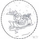 Coloriages Noël - Noël Carte à broder 3