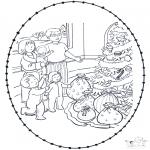 Coloriages Noël - Noël Carte à broder 7