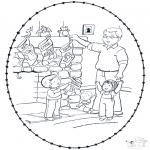 Coloriages Noël - Noël Carte à broder 8