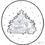 Coloriages Noël - Noël carte de piqûre 1
