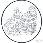 Coloriages Noël - Noël carte de piqûre 10