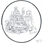 Coloriages Noël - Noël carte de piqûre 11
